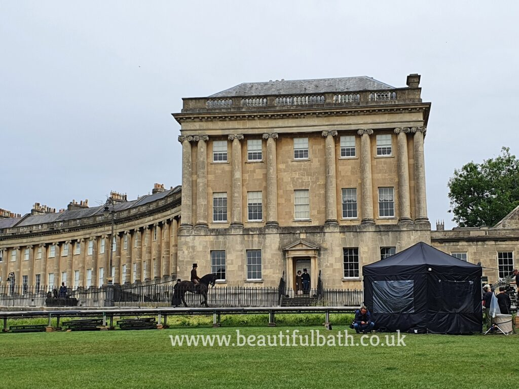 Persuasion filming in Bath: A horseman on the Royal Crescent