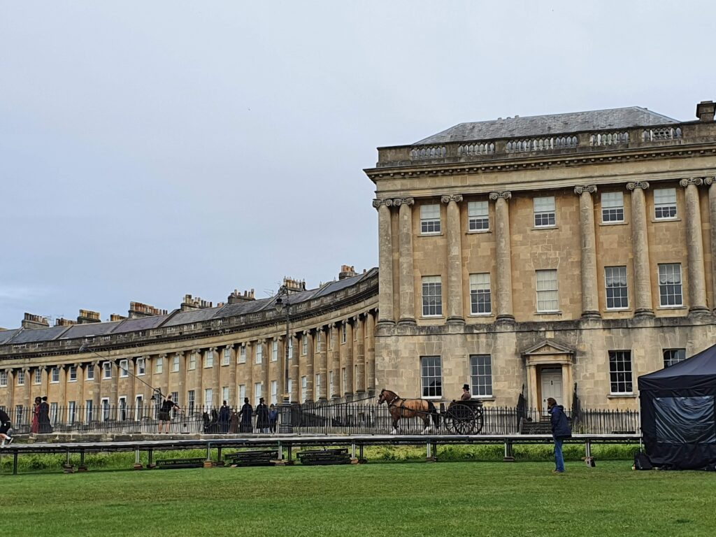 Royal Crescent during filming for Persuasion