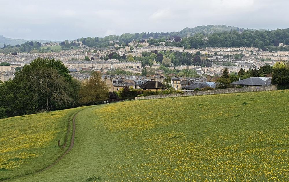 Bath seen from the fields of Bathwick Hill