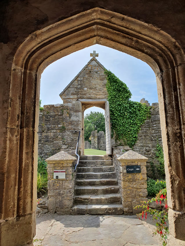 Looking out from the chapel at Farleigh Hungerford Castle